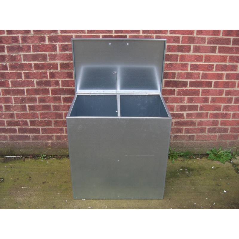 Heavy Duty Small Galvanised Feed Bin 2 Compartments